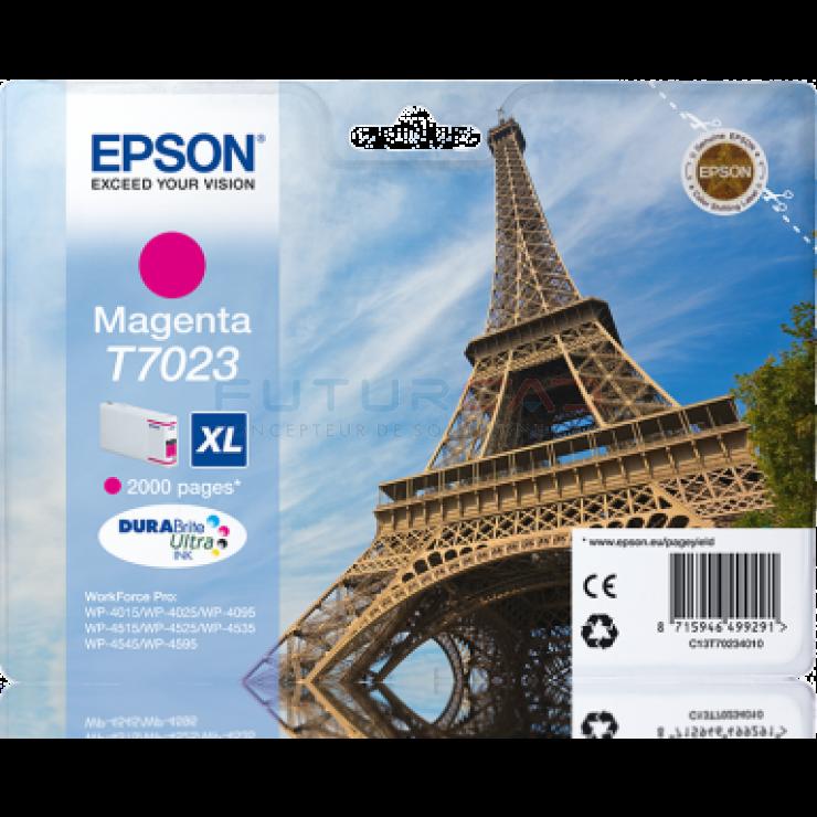 EPSON - T7023 - XL - Cartouche d'encre Tour Eiffel d'origine - 1 x magenta - 21 ml