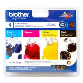 BROTHER - LC980VALBP - Cartouches d'encre - 1 x noir, 1 x jaune, 1 x cyan, 1 x magenta